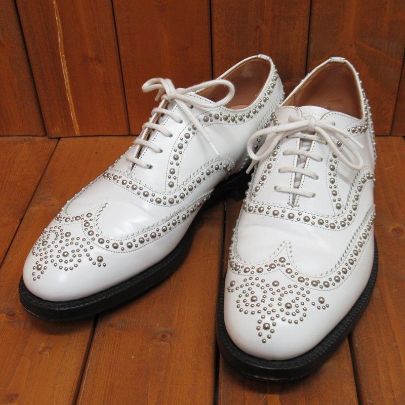 【中古】 Church's|チャーチ BURWOOD バーウッド スタッズウイングチップ レザーシューズ 革靴 サイズ:26.0cm カラー:ホワイト【f127】