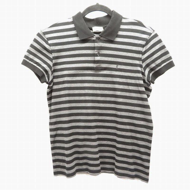 【期間限定】ポイント20倍【中古】SAINT LAURENT/サンローラン ポロシャツ半袖 サイズ:XS カラー:グレー/ブラック【f108】