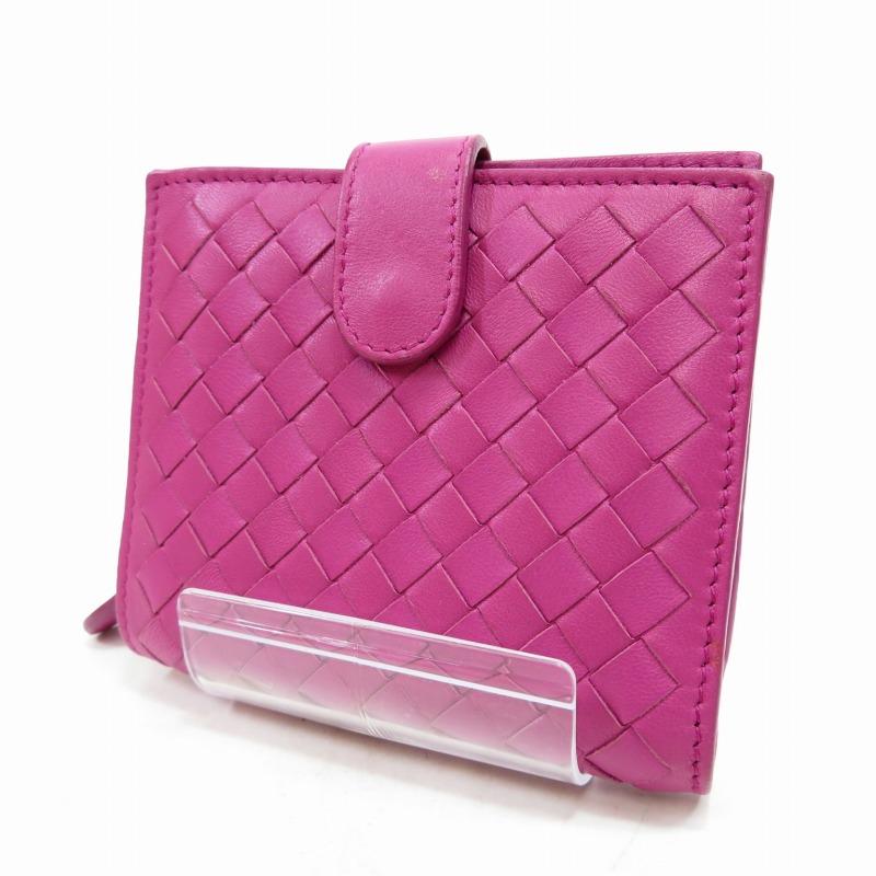 【中古】BOTTEGA VENETA/ボッテガヴェネタ イントレチャート 二つ折り財布 サイズ:ー カラー:ピンク【f125】