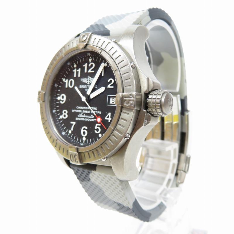 【中古】BREITLING/ブライトリング アベンジャー シーウルフ E17370 腕時計 サイズ:ー カラー:ブラック(文字盤)×グレー系(ベルト)【f132】
