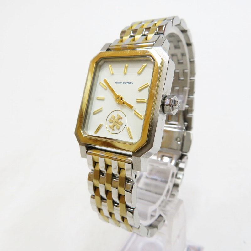 【中古】Tory Burch/トリーバーチ The Robinson TBW1501 腕時計 サイズ:ー カラー:ホワイト(文字盤)×ゴールド/シルバー(ベルト)【f131】