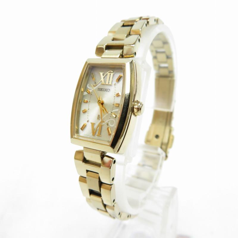【中古】SEIKO/セイコー LUKIA/ルキア V117-0CD0 腕時計 サイズ:ー カラー:ホワイトベージュ(文字盤)×ゴールド(ベルト)【f131】