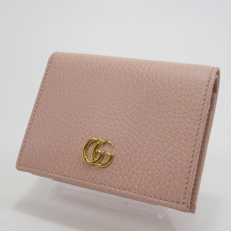 【中古】GUCCI|グッチ 456126 プチ マーモント 二つ折り財布 コンパクト カードケース サイズ:ー カラー:ピンク【f125】