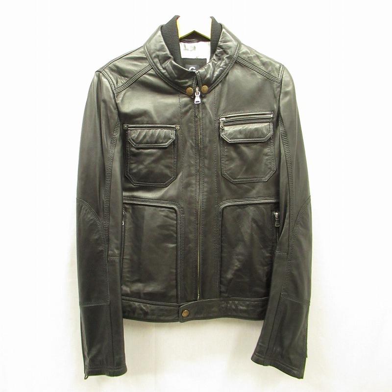 【中古】DOLCE&GABBANA/ドルチェ&ガッバーナ レザージャケット サイズ:48 カラー:ブラック【f108】