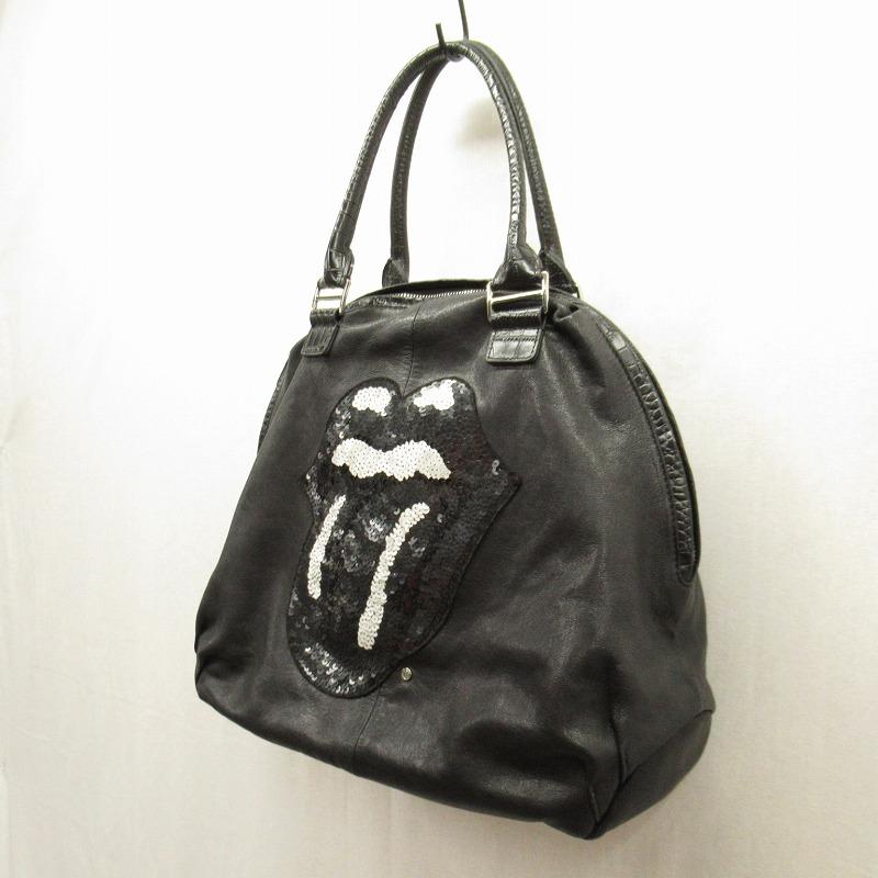 【中古】MUTA/ムータ ローリングストーンズ コラボ ハンドバッグ サイズ:ー カラー:ブラック【f121】