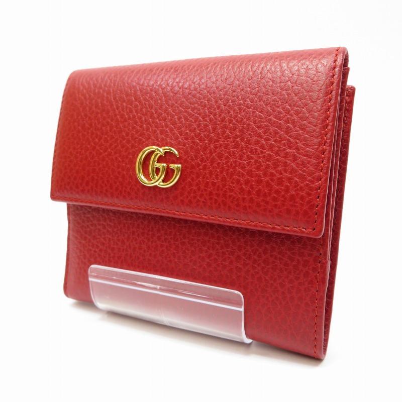【中古】GUCCI/グッチ 456122 プチ マーモント 二つ折り財布 サイズ:ー カラー:レッド【f125】