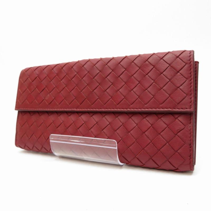 【中古】BOTTEGA VENETA/ボッテガヴェネタ 134075 イントレチャート 三つ折財布 サイズ:ー カラー:レッド【f125】