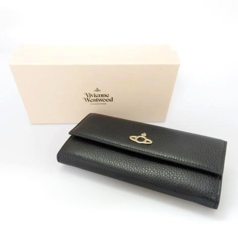 Vivienne Westwood/ヴィヴィアンウエストウッド2つ折り 長財布 ブラック 箱有 ※中古