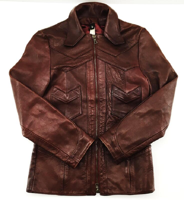 【中古】【サイズ:S】wjk ダブルジェイケイレザー 牛革 ジャケット ワインレッド メンズ ファッション 【八代店】