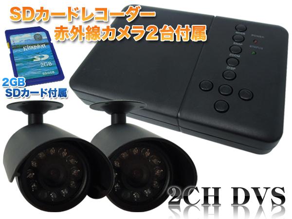 防犯カメラ 自動感知機能付 防犯カメラ2台 録画装置セット 暗視 防水 SD付 送料無料 お宝プライス/###D2692JN###