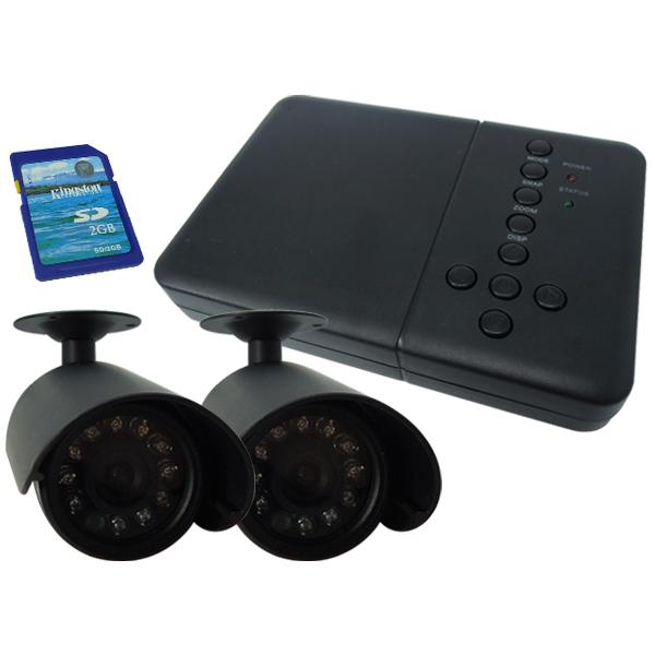 防犯カメラ 自動感知機能付 防犯カメラ2台 録画装置セット 暗視 防水 SD付 送料無料 お宝プライス ###D2692JN###