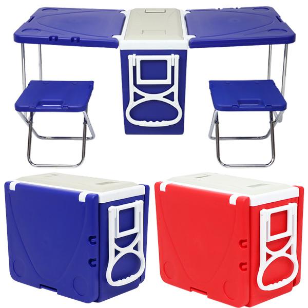 クーラーボックス ピクニックテーブル ウィングクーラー キャスター付 テーブル 椅子 2個付 折りたたみ テーブルに変身 保冷ボックス 収納 アウトドア キャンプ BBQ/###ボックスNR-9191###