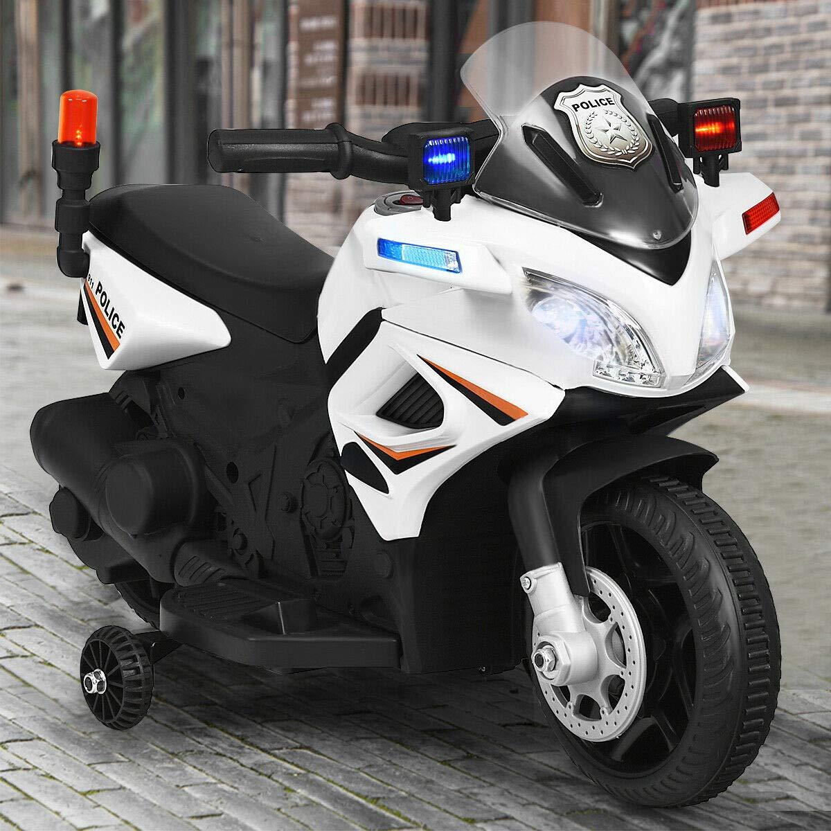 お子様・お孫様のプレゼントに!電動でこの価格はありえない! 電動乗用 アメリカン ポリスバイク 乗用玩具 子供用 補助輪付き 充電式 ライト点灯 サイレン付き 安心 安全 送料無料###乗用バイクBJC911###