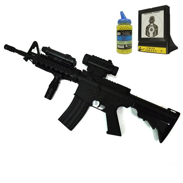 電動エアガン BB弾&ターゲット付 M4A1 エアーガン  BB弾2000発付き ACアダプタ プロターゲット 6mmBB弾 /###電動ガンD92H/的/弾◆###