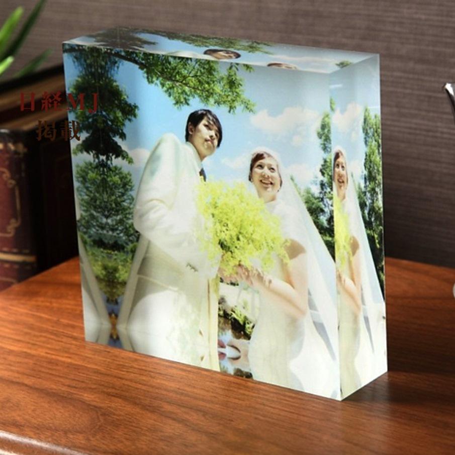アクリルフォトプリント 20x20x5cm | 結婚祝い 出産祝い 子ども 写真 名入れ アクリル キューブ フォト フレーム 誕生日 出産祝 フォトフレーム ウェディング 記念品 ギフト