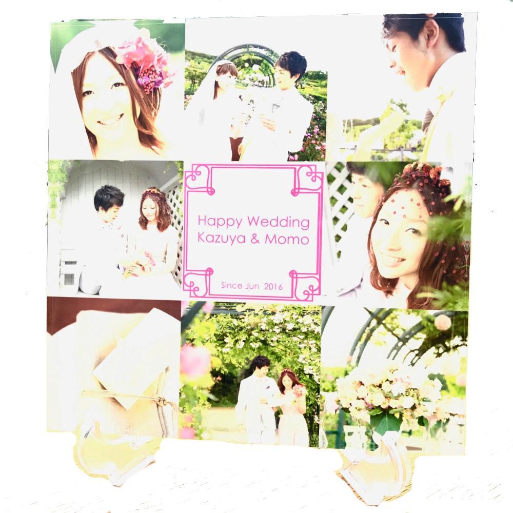メモリアル用アクリルフォトプレート 30x30x1cm (スタンド付) | ギフト 結婚 プレゼント 写真 プリント 名入れ アクリル キューブ フォト フレーム フォトフレーム 記念品 結婚式