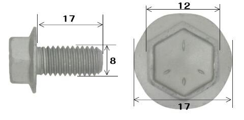 DRボルト フランジ ダイハツ 車 他 8×17 ボルト 200本 平径 12mm フランジ径17mm