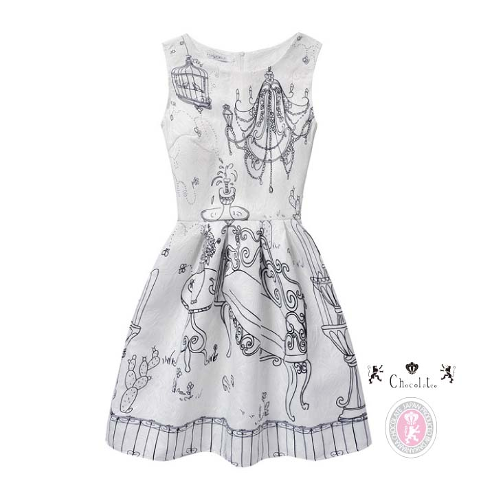 1b5069fc589 In a cute dress no sleeve chandelier pattern knee in the spring and summer
