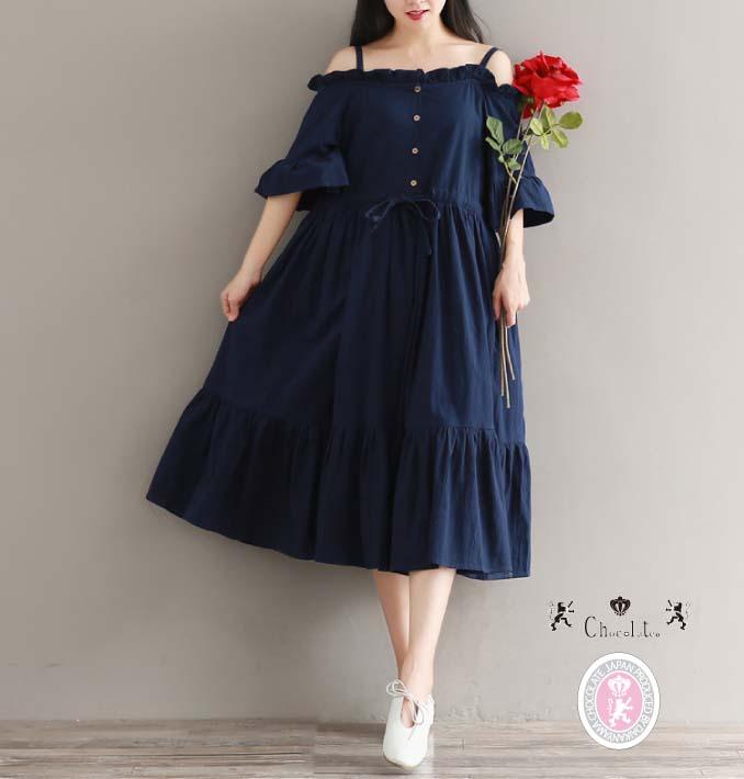 f84bd1e93ec otenba-chocola  Indigo blue off shoulder summer dress dark blue knee long  flared skirt