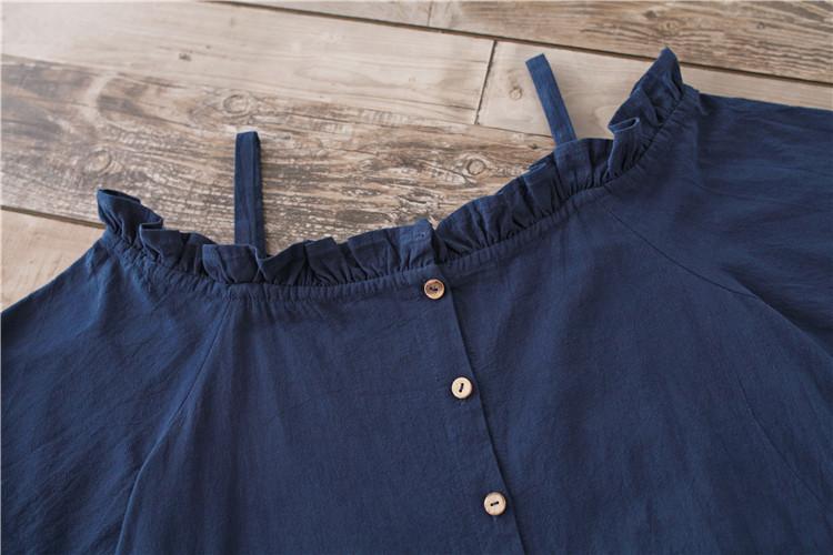 a88e4ef1723 otenba-chocola  Indigo blue off shoulder summer dress dark blue knee ...