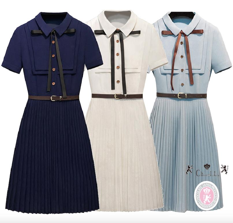8b7745d64c9 otenba-chocola  WEST dress ribbon pleated skirt
