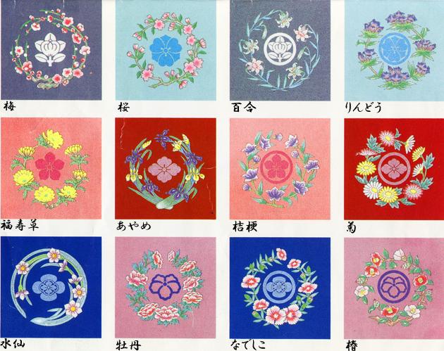 【おてんば】日本の四季花紋 装飾紋 お好みの花紋を入れておしゃれを楽しむ