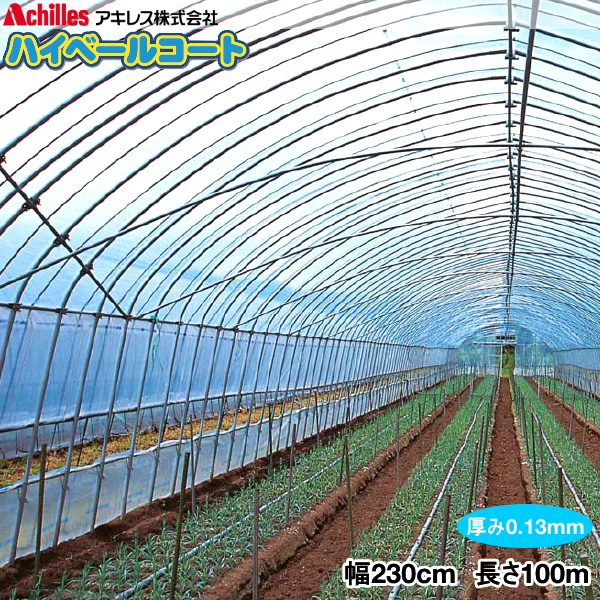 塗工タイプ農POフィルム ハイベールコート130 厚さ0.13mm 幅230cm 長さ100m(原反) 長期展張用