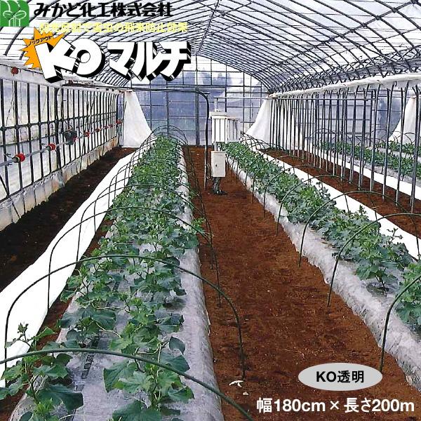 みかど化工 KOマルチ 透明(KON) 厚み0.02mm 幅180cm×長さ200m 無孔 3本セット