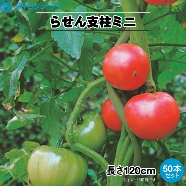 トマト用ラセン支柱ミニ トマポール 太さ11mm 長さ120cm 50本セット