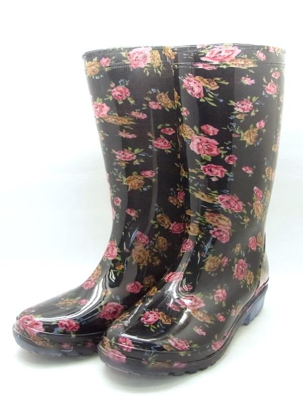 定価の67%OFF 婦人用 プラ長靴 花柄 ブラック 使い勝手の良い