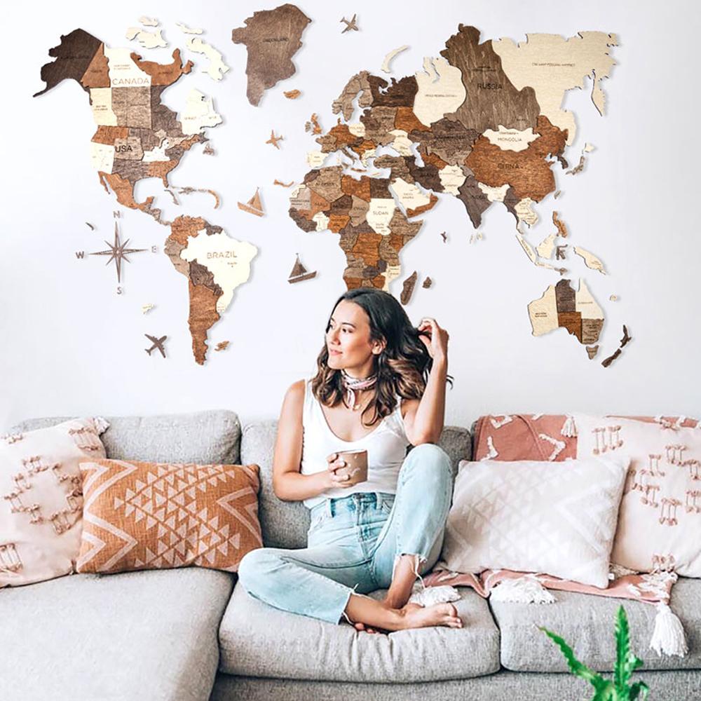 【Standard Mサイズ】3D Wood World Map 高級感ある木の温もり 壁掛け木製世界地図 インテリアをもっとオシャレ&グローバルに!