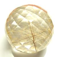 【ゴールデンルチルミラーボール】ルチルクォーツミラーボール丸玉 約252.0cts