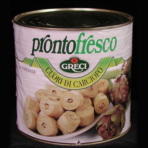 イタリアグレチの厳選 素材缶詰め「プロント・フレスコ」  ローマ 世界ふしぎ発見 カルチョッフィ・ナチュ-レ 2500g缶(アーティチョ-クの芯の水煮)しゃきしゃき感の残るフレッシュさは春野菜の代表 (常温)
