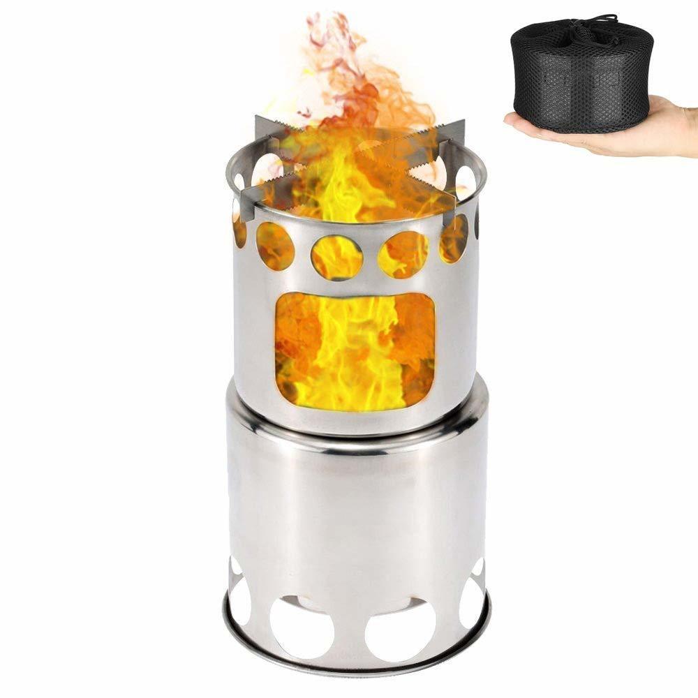 キャンプストーブ アウトドア用 ウッドストーブ 二次燃焼 最安値に挑戦 燃料不要 キャンプ コンパクトステンレスストーブ 焚火台 出色 収納パック付