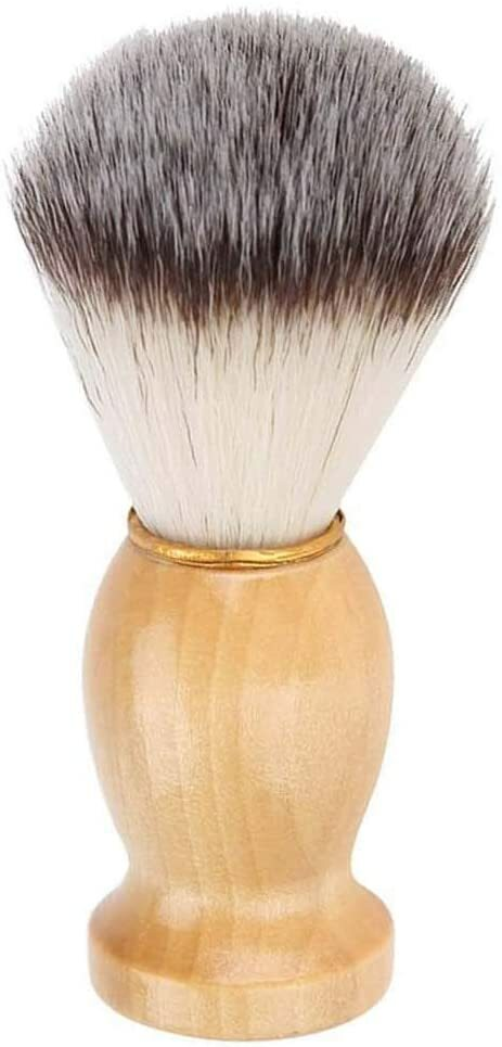 シェービングブラシ付き木製ハンドル付きナイロン 理容 洗顔 髭剃り 泡立ち