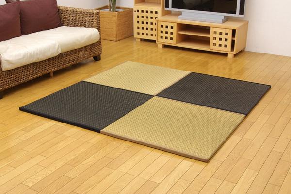 純国産 ユニット畳 『右京』 82×82×2.5cm 4枚(ベージュ2枚 ブラック2枚)1セット