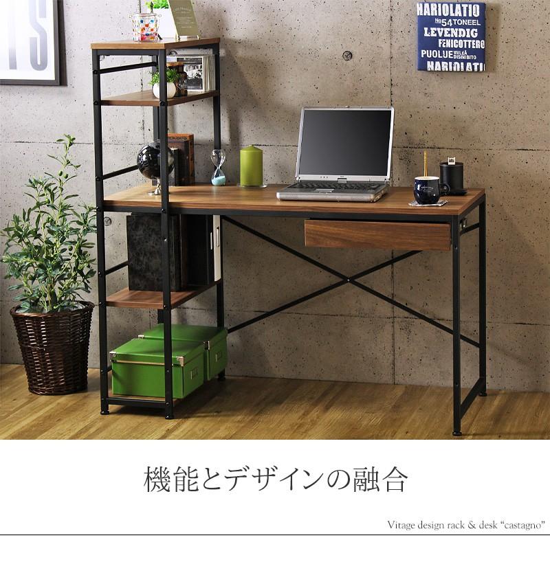 デスク ラック付きデスク iw-iwp-120 (iw)PCデスク 書斎机 ワークデスク 棚付きデスク 引き出し 収納付き 棚付き 省スペース 奥行45cm おしゃれ 北欧 木製 ウォールナット 即納 岩附 iwatsuki 10P03Dec16 works