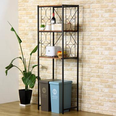 ラック キッチンラック iw-iw-32bk(iw)キッチン棚 キッチン収納 ラック 収納ラック レンジラック 冷蔵庫ラック スリム 幅60 スライド棚 ゴミ箱収納 ダストボックス収納 アンティーク レトロ モダン ブラック 10P03Dec16 works