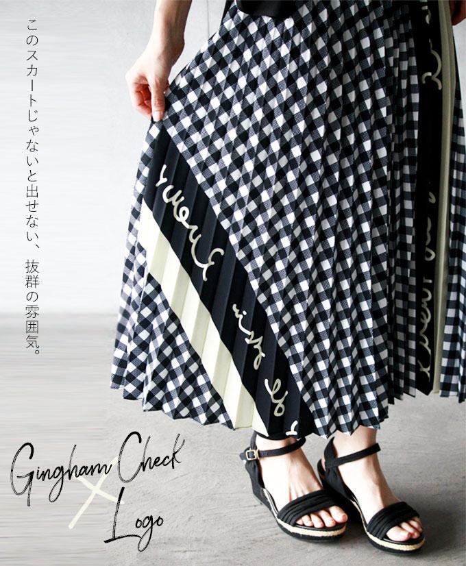 【再入荷♪3月25日20時より】プリーツスカート。ギンガムチェック。ブラック。ロゴ。7/25〇メール便可