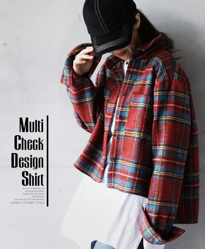 チェック柄。シャツ。レッド。Multi Check Design Shirt1/26×メール便不可##8