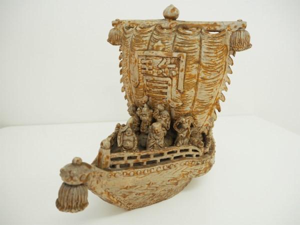 【中古】宝船 置物 手作り 旭陶作