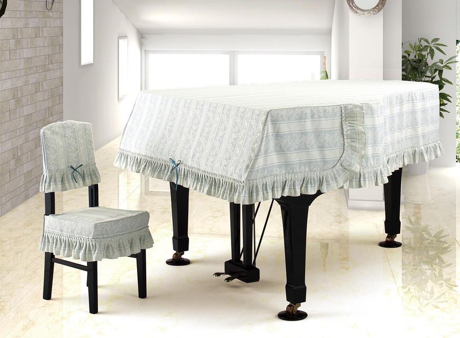 ★グランドピアノカバー ジャガード グレイッシュブルー G-JB 200~220未満