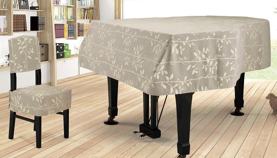 プ★リーフジャガードタイプ グランドピアノカバー G-RF グレーベージュ系リーフ柄