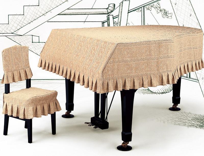 プ★ストライプジャガードタイプ グランドピアノカバーG-NSR  ピーチベージュ地模様光沢ストライプ柄