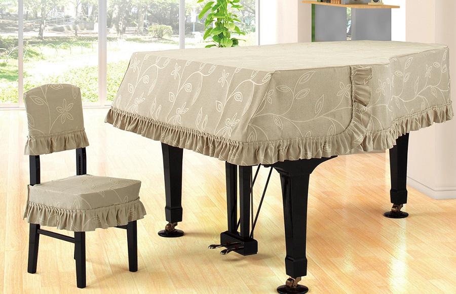 プ★ジャガードタイプ グランドピアノカバー G-BX ダークベージュ系リーフ柄