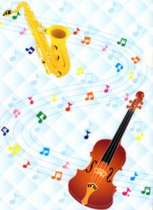 可愛いファイルの新柄登場いたしました 音楽雑貨 ファイル 引き出物 CF526 1着でも送料無料 バイオリンとサックス ステッカーファン