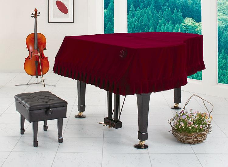 ●G-WB R グランドピアノカバー キュプラ・ベルベット ワインレッド オーダー品