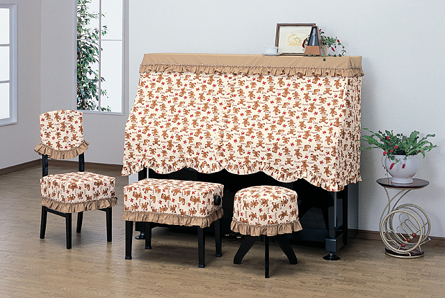 ピアノハーフカバー(ピアノケープ)PCー560BR ベア柄プリント吉澤製