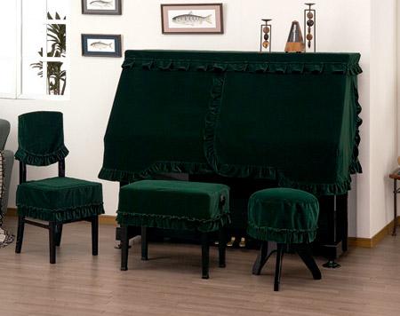 ピアノ椅子カバー 408XG 背もたれ椅子カバー(画像左)グリーン