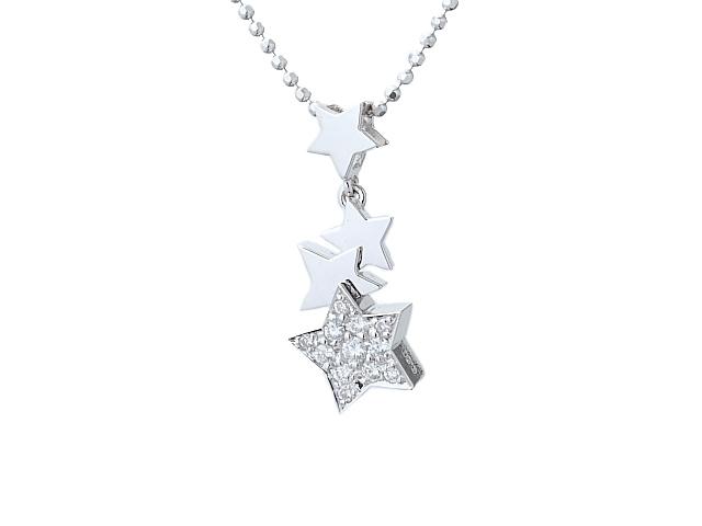 音羽屋■送料無料■ スターモチーフ ダイヤモンド/0.20ct K18WG ペンダント ネックレス 仕上済 【中古】